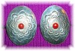 Native American Coral Sterling Silver Clip Concho Earri