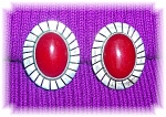 Large Mexican Sterling Silver & Coral Clip Earrings