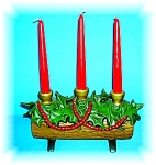 1974 Hand Painted Ceramic Log Candle Holder