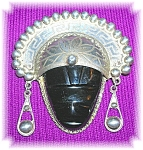 Click to view larger image of Vintage 2 3/8 Inchs Sterling Silver  Onyx MexicanBrooch (Image1)