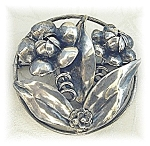 Hobe Flower Brooch Sterling Silver