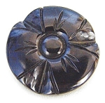 Black Deeply Carved Bakelite Button