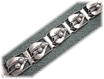 Click here to enlarge image and see more about item 0627200511: Sterling Silver Mexico Signed ETD Vintage  Leaf Bracele