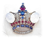 Click to view larger image of Sterling  Jewel Jelly Belly TRIFARI Crown Pin (Image1)