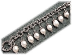 Click to view larger image of Freshwater Pink Pearls Sterling Silver  Bracelet (Image1)