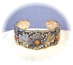 Click here to enlarge image and see more about item 0627200729: Coro Silver Coral Oriental Bamboo Bracelet