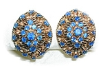 Click to view larger image of Earrings 14K Gold  4ct  Each Sapphire Clip Antique  (Image1)