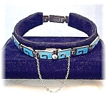 Click here to enlarge image and see more about item 0627200539: MARGOT De Taxco Sterling Silver  Blue Enamel Bracelet