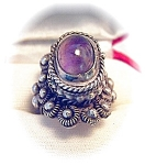 Sterling Silver Taxco Signed Amethys Signed Poison Ring