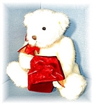 Click here to enlarge image and see more about item 0627200568: White GUND Teddy With Red Velveteen Gift BX