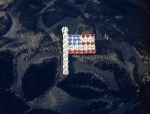 USA Flag Pin  Silvertone Rhinestones Brooch