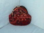 CELEBRITY Burgundy Floral Velvet Evening Purse Lucite