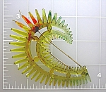 Click here to enlarge image and see more about item 0702200816: Plastic Lucite Gold Spiky Vintage hair Barette