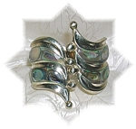 Click here to enlarge image and see more about item 0703200522: Vintage Pull Apart Silver & Abalone Bracelet
