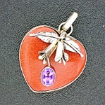Click to view larger image of Pendant Sterling Silver Goldstone Amethyst Heart Flower (Image1)