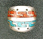 Native American Sterling Silver Chip Inlay Coral Turquo