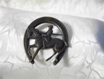 Click here to enlarge image and see more about item 0713200229: Horseshoe Brooch Horse and Rider Horseshoe Brooch