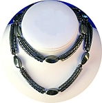 Click here to enlarge image and see more about item 0202200703: 28 Inch 3 Strand Grey  HEMATITE Bead Necklace