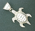 Click to view larger image of Sterling Silver Turtle Pendant Large (Image1)