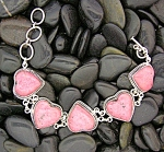 Click to view larger image of Sterling Silver Pink Rhodonite Hearts Bracelet (Image1)