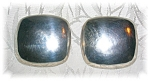 Signed F C Sterling Silver Large Clip Earrings