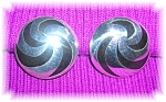Click to view larger image of Mexican Sterling Silver Black Onyx Large Clip Earrings (Image1)