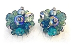 Crystal Blue Green Borealis German Clip Earrings