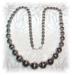 Click to view larger image of Necklace 24 Inch Graduated Silver Beads  (Image1)