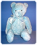 Click here to enlarge image and see more about item 07162006007: 15 Inch Soft and Cuddly Blue Baby GUND Teddy Bear