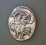 Click to view larger image of Sterling Silver Cameo 2 Figure Brooch Pendant (Image1)