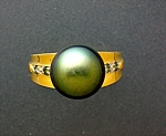 Ring Tahitian Pearl 14K Green  White Diamonds