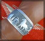 Click to view larger image of Native American TOMMY SINGER Sterling Silver Horses Cuf (Image2)