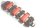 Click here to enlarge image and see more about item 0718200313: Stunning Silvertone & Coral Lucite Bracelet