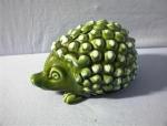 Click to view larger image of BANK - Hedgehog Green Majolica? Money Box - English . . (Image1)
