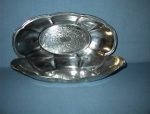 Click here to enlarge image and see more about item 071920025: 2 Large Silverplate On Copper Fruit Dishes