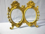 Click here to enlarge image and see more about item 071920027: Antique Brass Double Photograph Frame