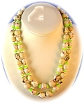 Plastic Venetian Bead Look Pink Gold Green Necklace