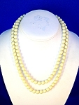 Vintage Double Row Creamy White Bead Necklace