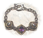 Click here to enlarge image and see more about item 0719200342: Gold Silvertone Amethyst Toggle Bracelet . . .
