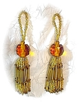 Click here to enlarge image and see more about item 0719200351: Golden Crystal Bead Tassles