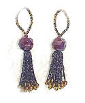 Pair Of Glass Black & Amber Bead Tassles
