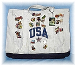 Click here to enlarge image and see more about item 0720200414: Well Used White Canvas Tote 27 Badges