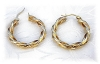 Click to view larger image of Earrings 14K Gold Twist Hoop Pierced  (Image2)