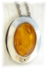 Click to view larger image of Sterling Silver & Amber Necklace Made in Denmark (Image2)