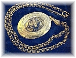 Click here to enlarge image and see more about item 0721200459: Necklace Large Goldtone Picture Locket & Chain