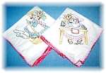 2 Hand Embroidered Floursack Kitchen Towels