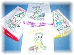 Click here to enlarge image and see more about item 0721200513: 4 Hand Embroidered Floursack Kitchen Towels