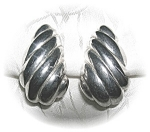 Silvertone Clip Earrings, signed CAROLEE . . . . .