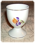 Click here to enlarge image and see more about item 0721200629: Porcelain Egg Cup With Handpainted Purple Iris
