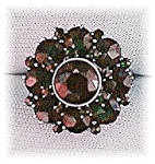 Click to view larger image of Antique 800 European Silver Ruby Garnet Cluster Ring . (Image1)